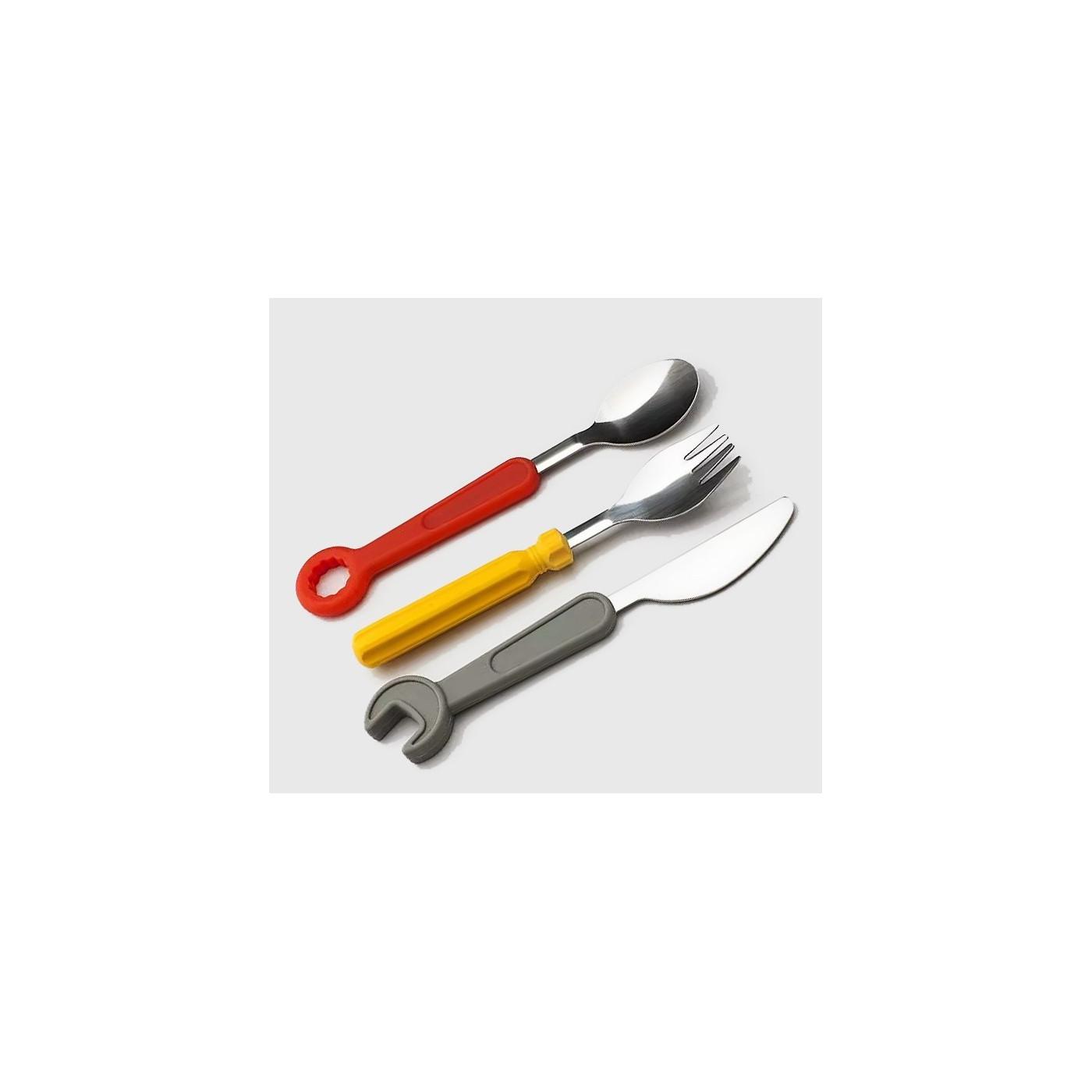 Conjunto de talheres de ferramentas para crianças (garfo, faca, colher)  - 1