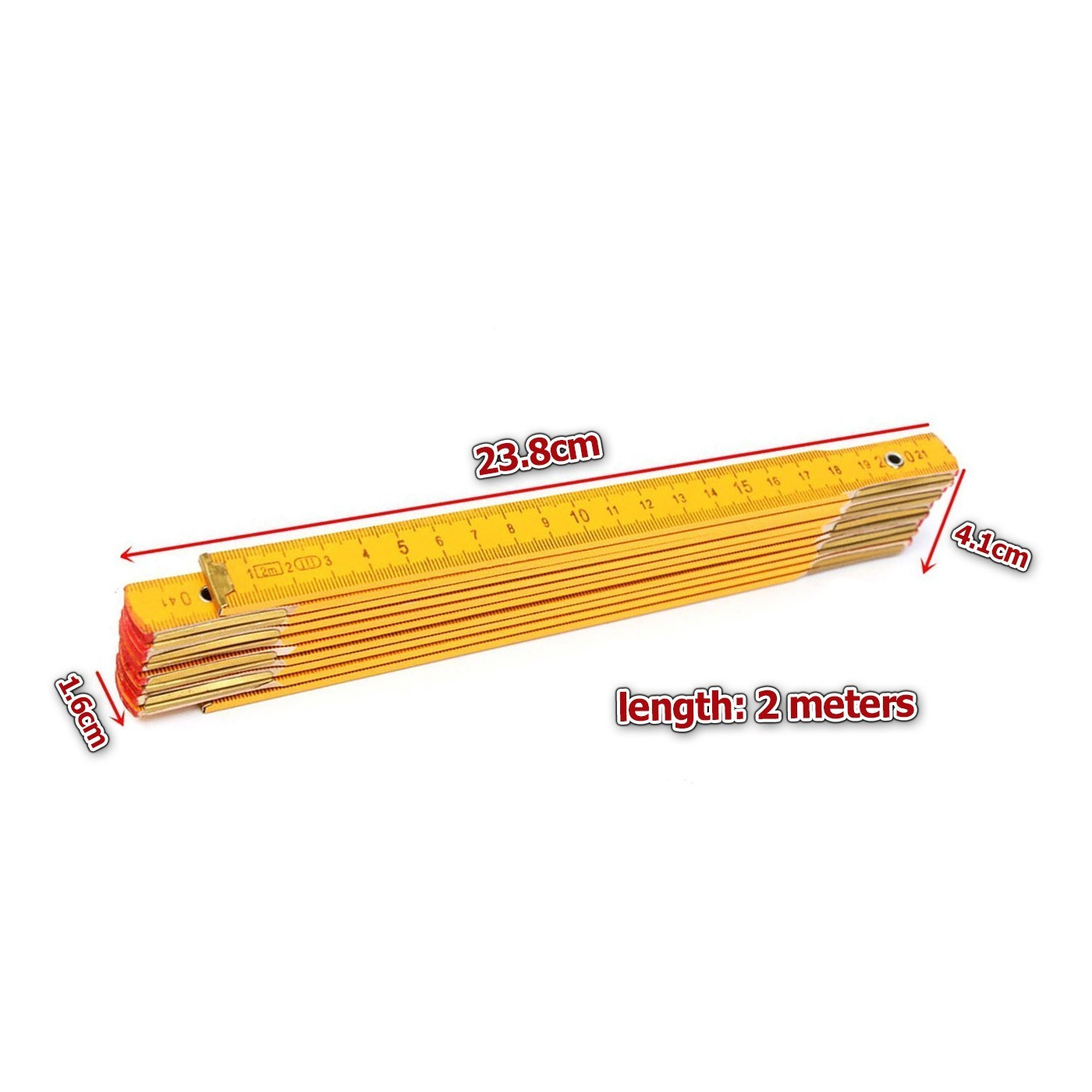 Foldable ruler from wood, 2 meters