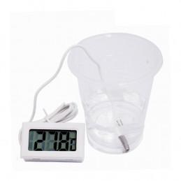 Biały termometr LCD z sondą (do akwarium itp.)