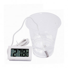 Termômetro LCD branco com sonda (para aquário, etc.)  - 1