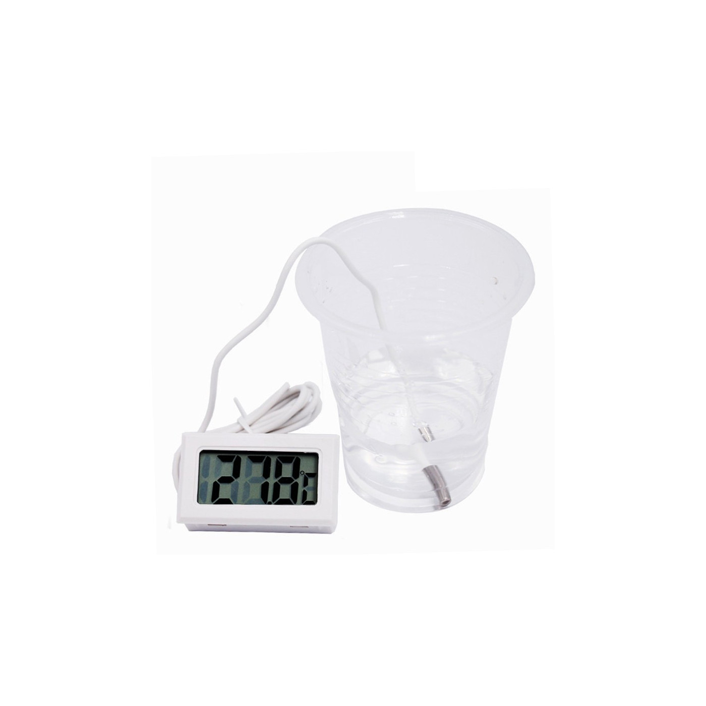 Termometro LCD bianco con sonda (per acquario, ecc.)