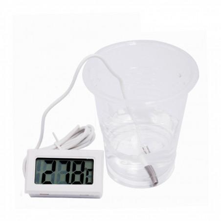 Thermomètre LCD blanc avec sonde (pour aquarium, etc.)