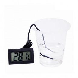 Czarny termometr LCD z sondą (do akwarium itp.)