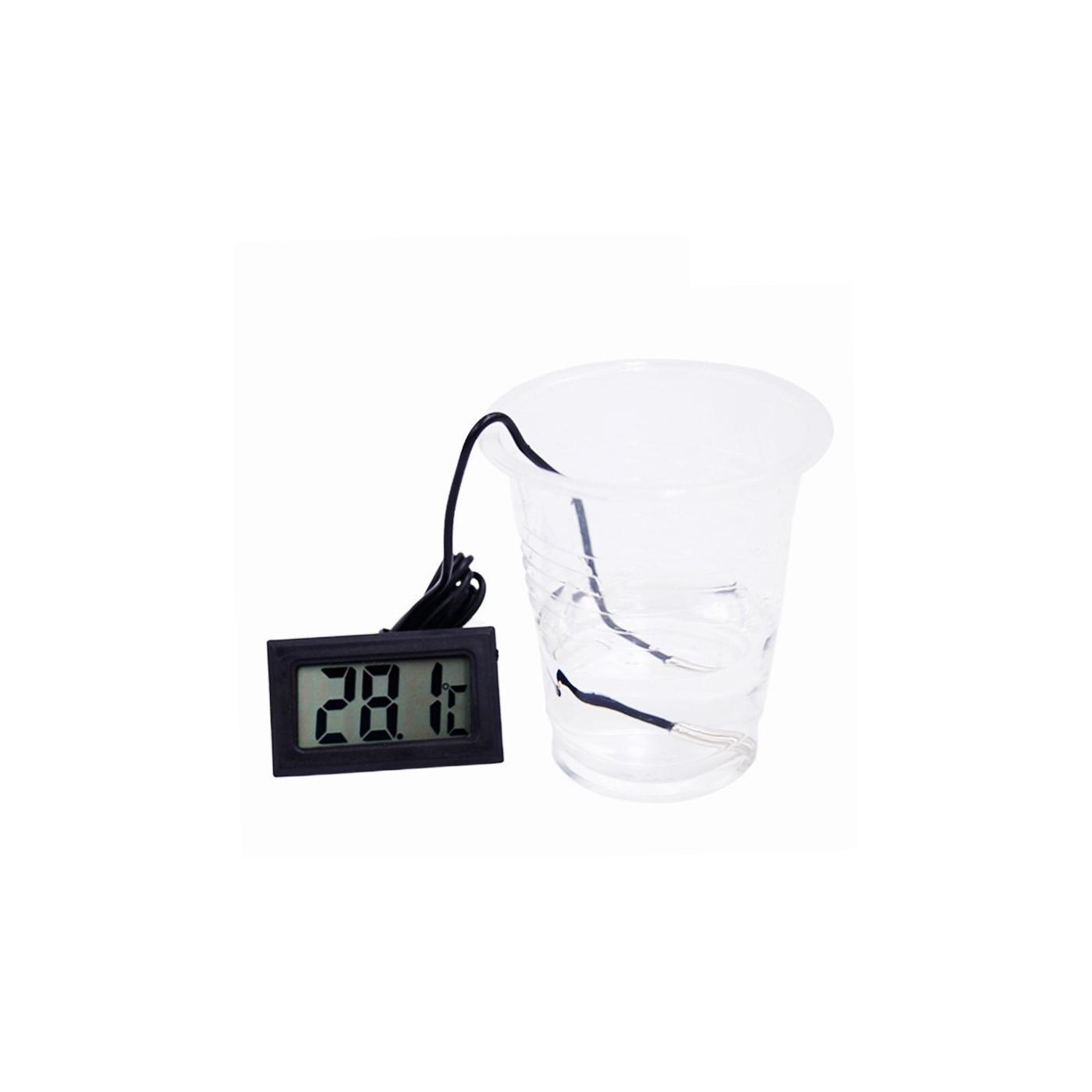 Schwarzes LCD-Thermometer mit Sonde (für Aquarium, etc.)