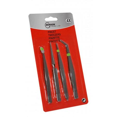 Set of tweezers (4 pieces) for precise work