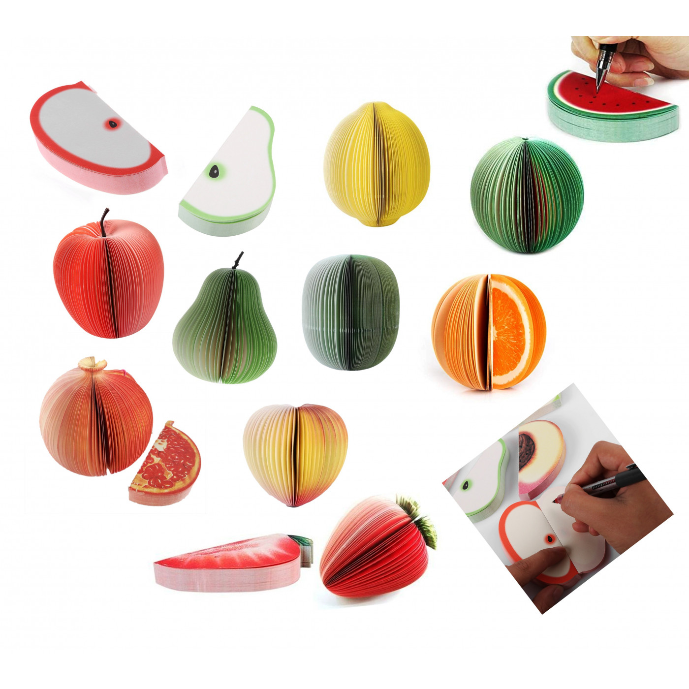 Funny memo pads, sticky notes (fruit, 9 sets)