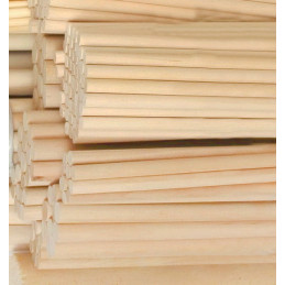 Set of 100 wooden sticks (20 cm length, 9.5 mm dia, birchwood)