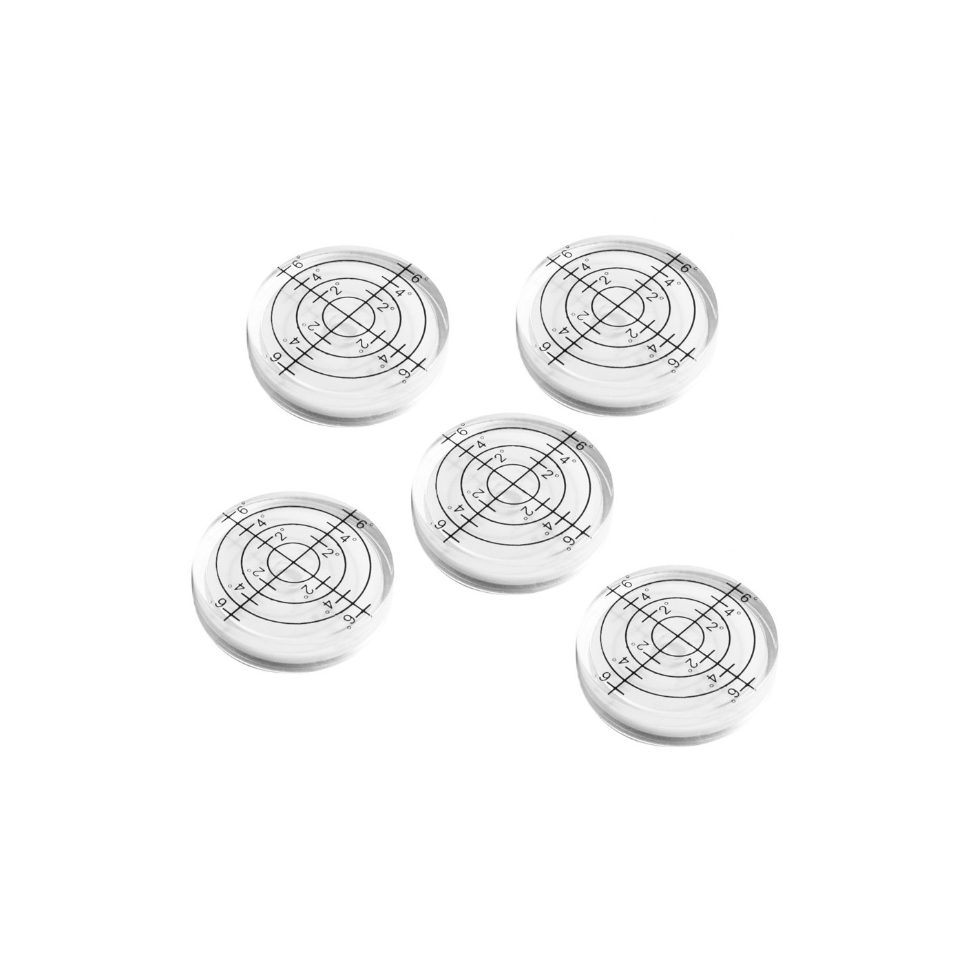 Set van 5 ronde waterpasjes, 32x7 mm wit  - 1