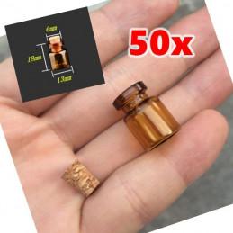 Set mini bottiglie di vetro, 13x18x6 mm (50 pezzi)