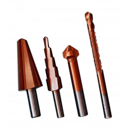 Set of various drills (stepping drill, countersink drill, ...)