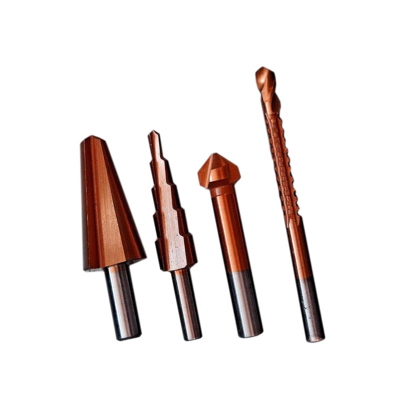 Set of various drills (stepping drill, countersink drill,..)
