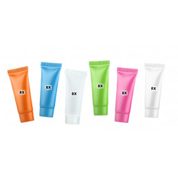 Set of 48 refillable, cosmetic tubes (10 ml, mixed colors)