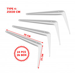 Set di 24 supporti per ripiani in metallo (tipo 4, 25x30 cm
