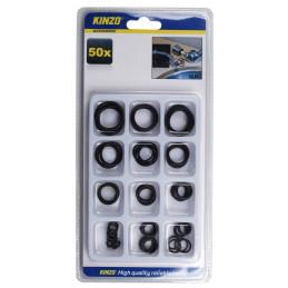 Conjunto de 50 anillos de goma en una caja.  - 1