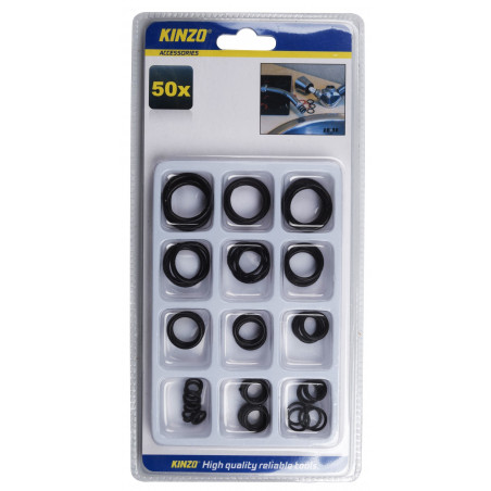 Set of 50 rubber rings in a box