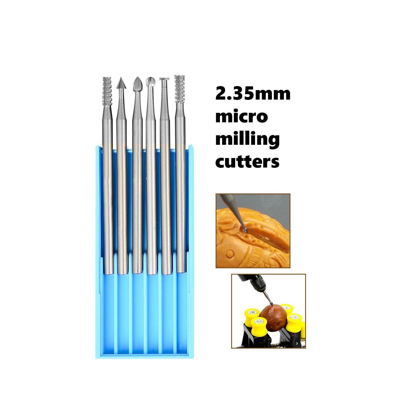 6 HSS mini milling cutters, 1.0x40mm, 2.35 shaft