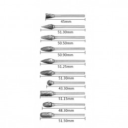 Set di frese di alta qualità, carburo di tungsteno (10 pezzi, gambo 3 mm)  - 1