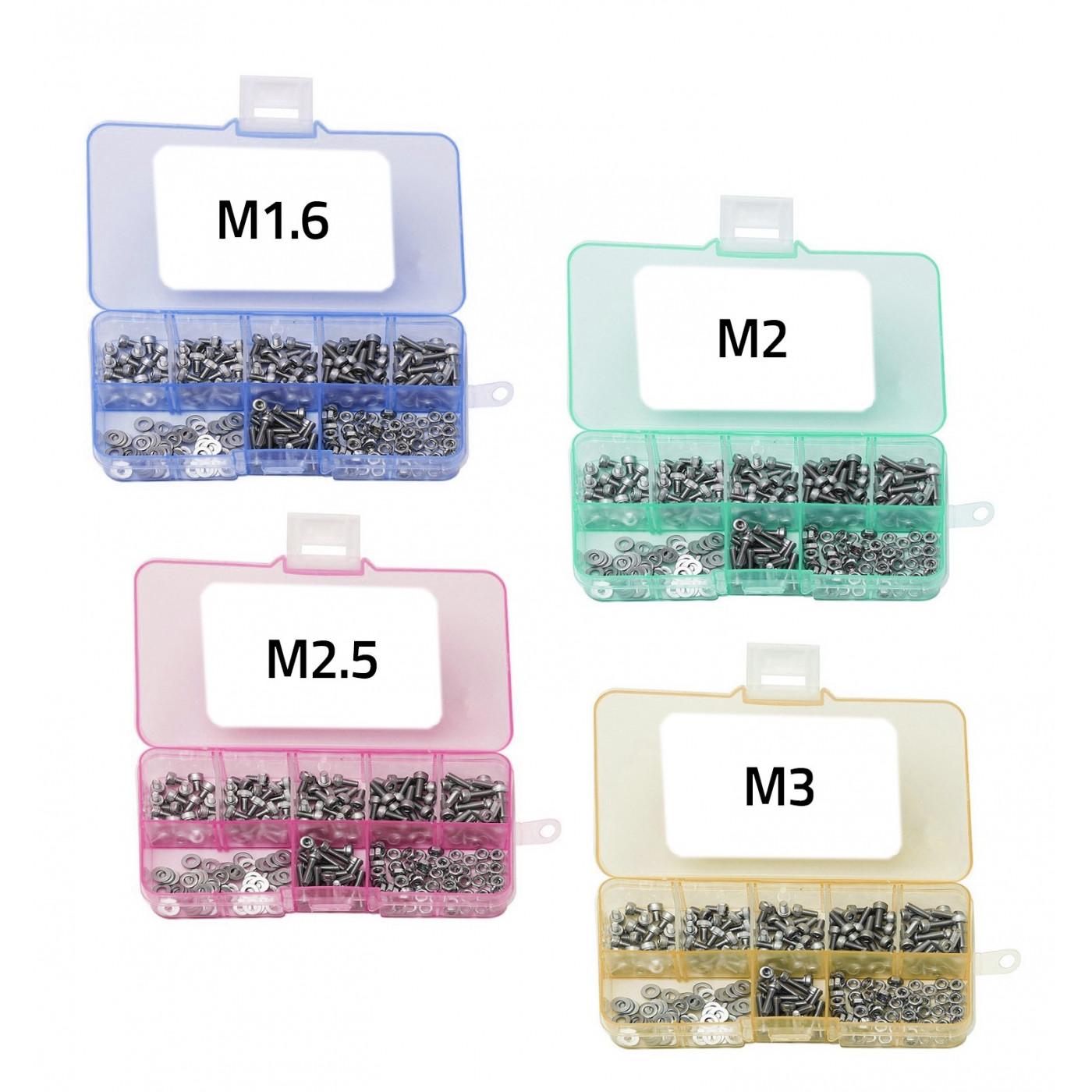 Conjunto de 1000 piezas pequeñas de pernos, tuercas y arandelas, tamaños: M1.6-M3  - 1