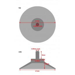 Conjunto de 40 ventosas de goma con varilla M4 (41 mm de diámetro)  - 2