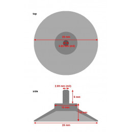 Set di 40 ventose in gomma con asta M3 (diametro 25 mm)  - 2
