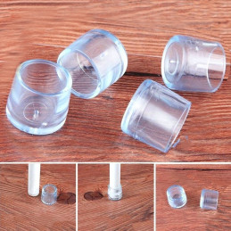 Conjunto de 16 protetores de perna de cadeira de silicone (externo, extra resistente, redondo, 21 mm, transparente) [O-RO-21-TX]