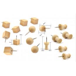 Drewniane pinezki w torbie (3 rodzaje, 270 sztuk)  - 1
