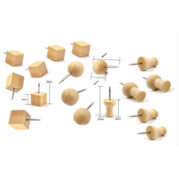 Wooden push pins in bag (3 types, 270 pieces)  - 1