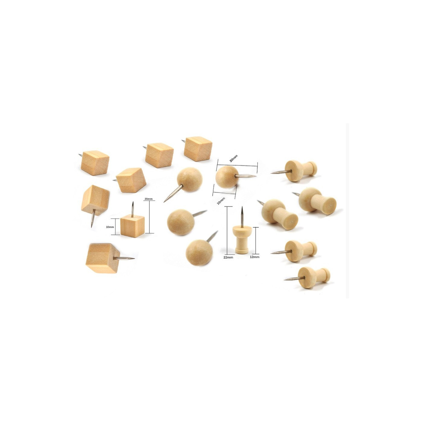 Leuke set houten punaises, 3 soorten, 270 stuks