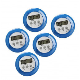 Set of 5 digital kitchen timers, alarm clocks, blue
