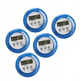 Zestaw 5 cyfrowych timerów kuchennych, budzików, niebieski  - 1