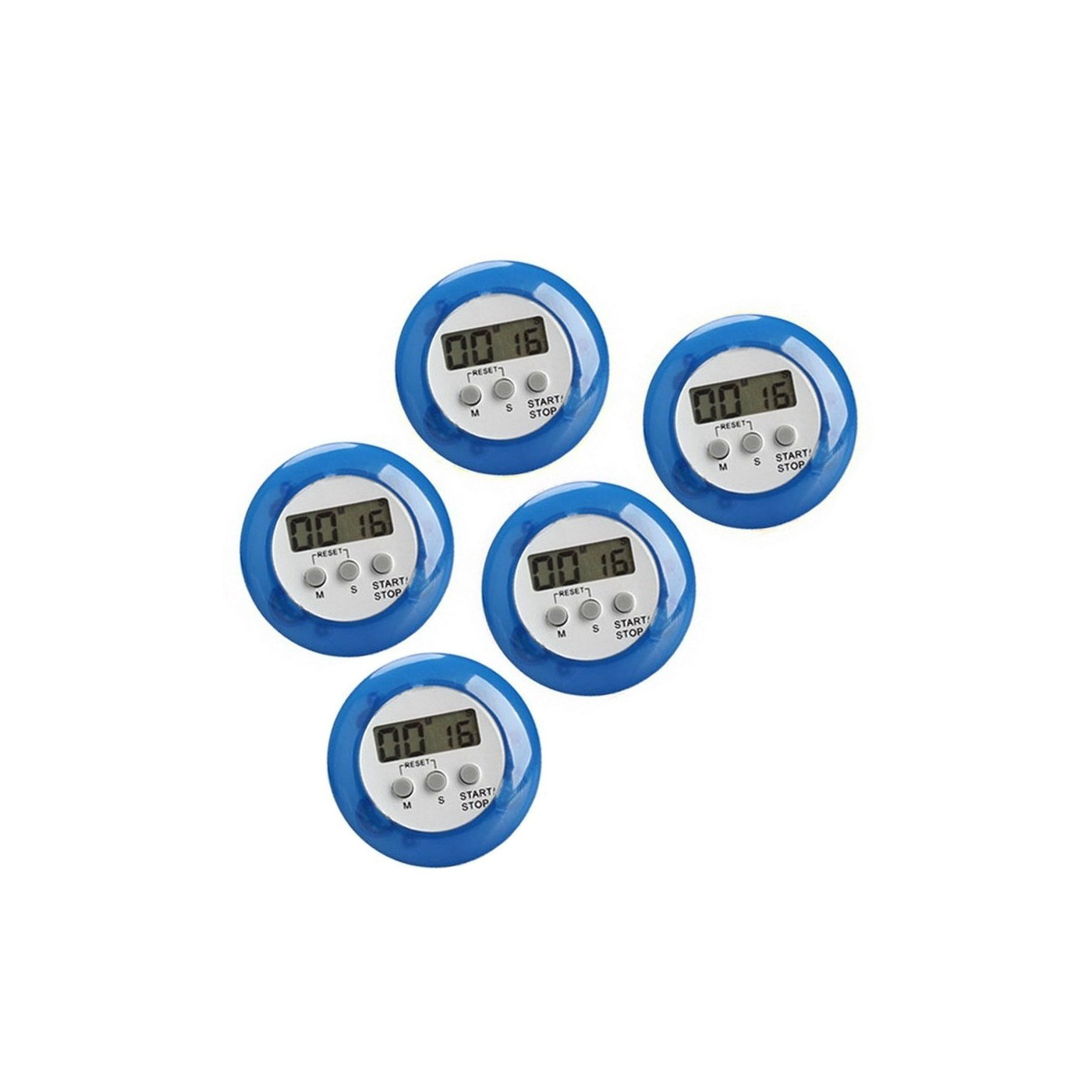 Set of 5 digital kitchen timers, alarm clocks, blue