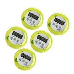 Set of 5 digital kitchen timers, alarm clocks, green