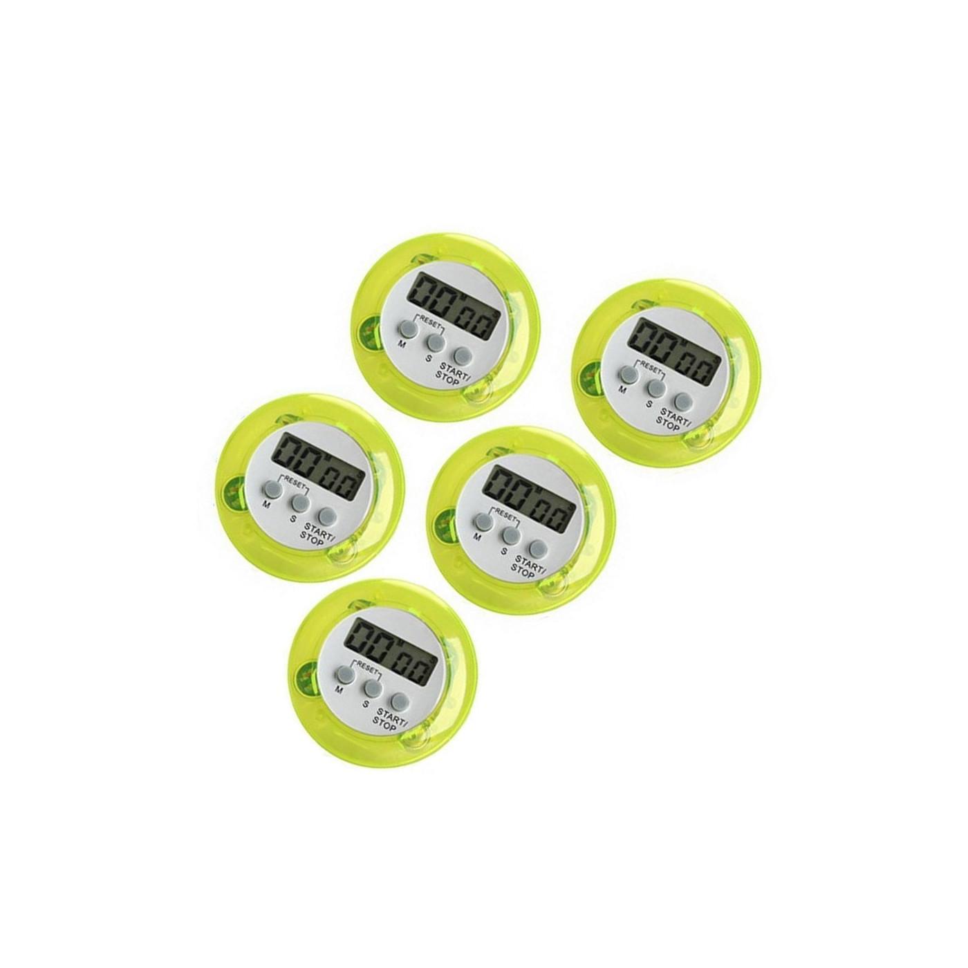 Conjunto de 5 temporizadores digitais de cozinha, despertadores, verdes  - 1