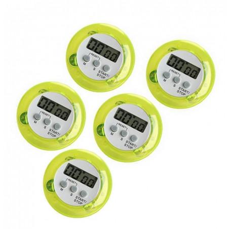 Set van 5 digitale timers, kookwekkers (alarmklok) groen