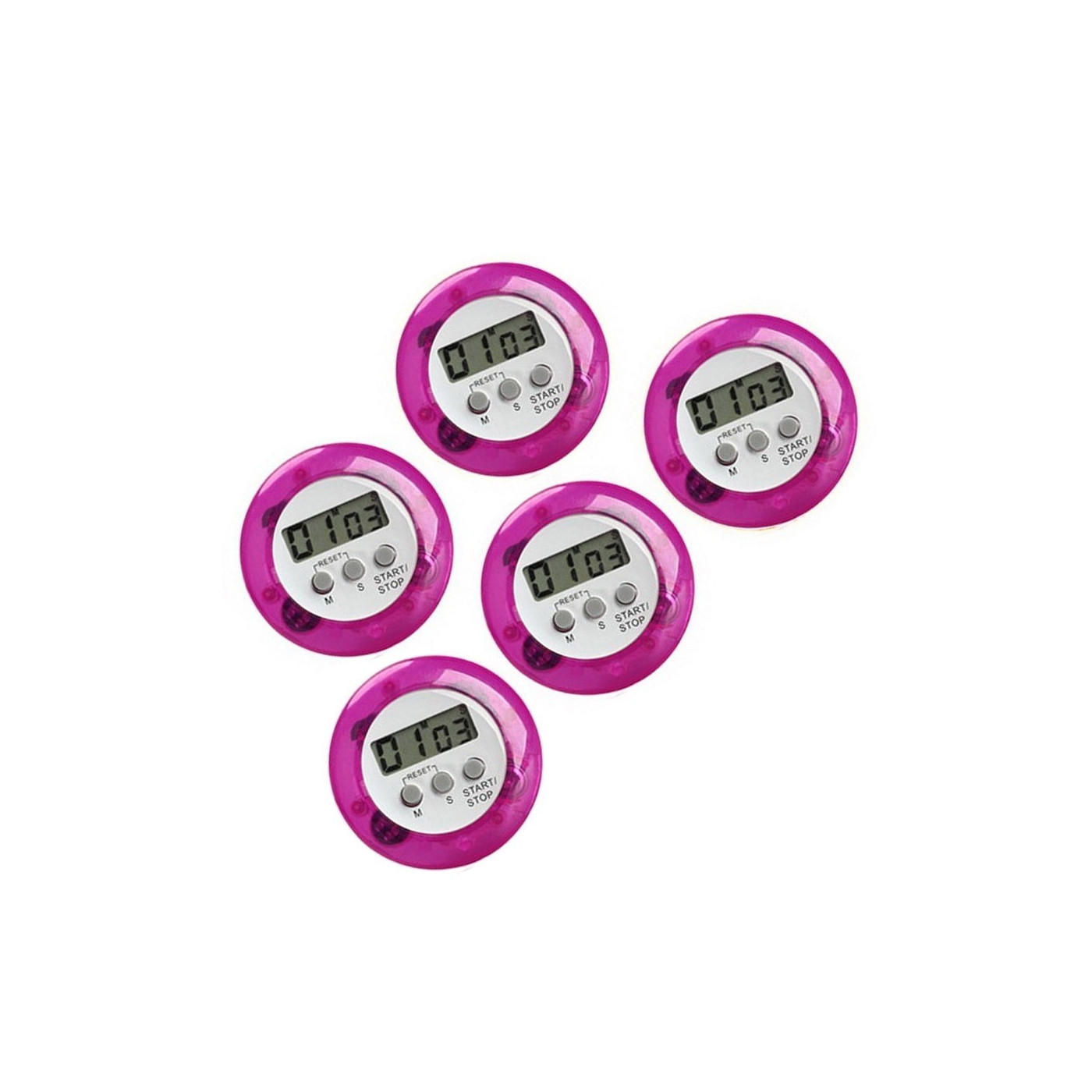 Ensemble de 5 minuteries de cuisine numériques, réveils, violet  - 1