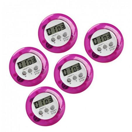 Set van 5 digitale timers, kookwekkers (alarmklok) paars
