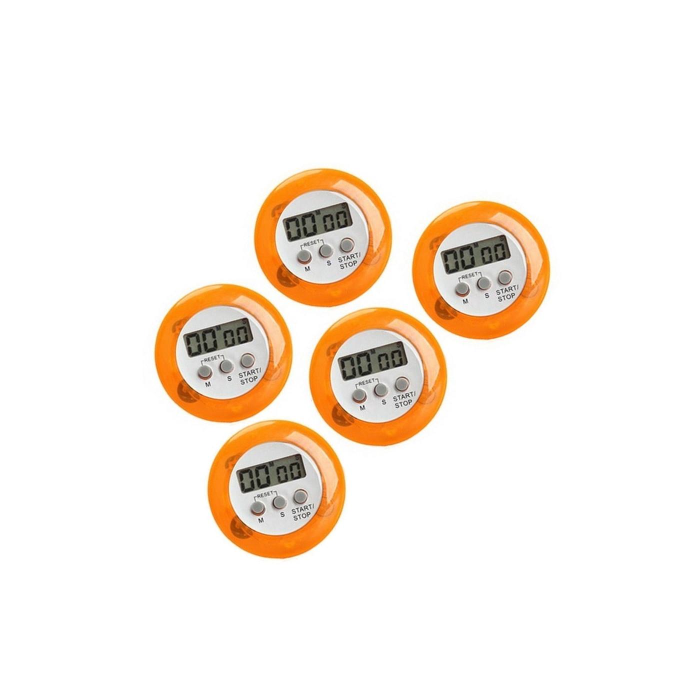 Set of 5 digital kitchen timers, alarm clocks, orange