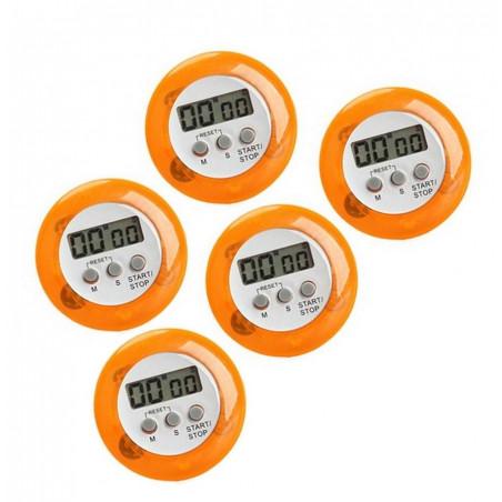 Set di 5 timer da cucina digitali, sveglie, arancione  - 1