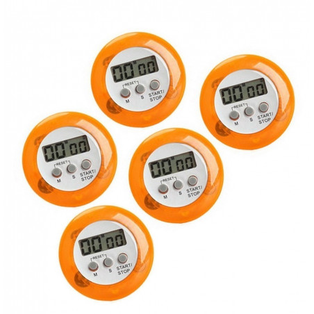 Set van 5 digitale timers, kookwekkers (alarmklok) oranje