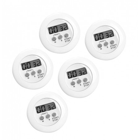 Set of 5 digital kitchen timers, alarm clocks, white