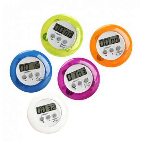 Set of 5 colorful kitchen timers, alarm clocks