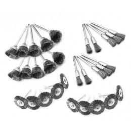 Set van 30 mini metaalborstels (messing), 3 mm schacht, 3 vormen