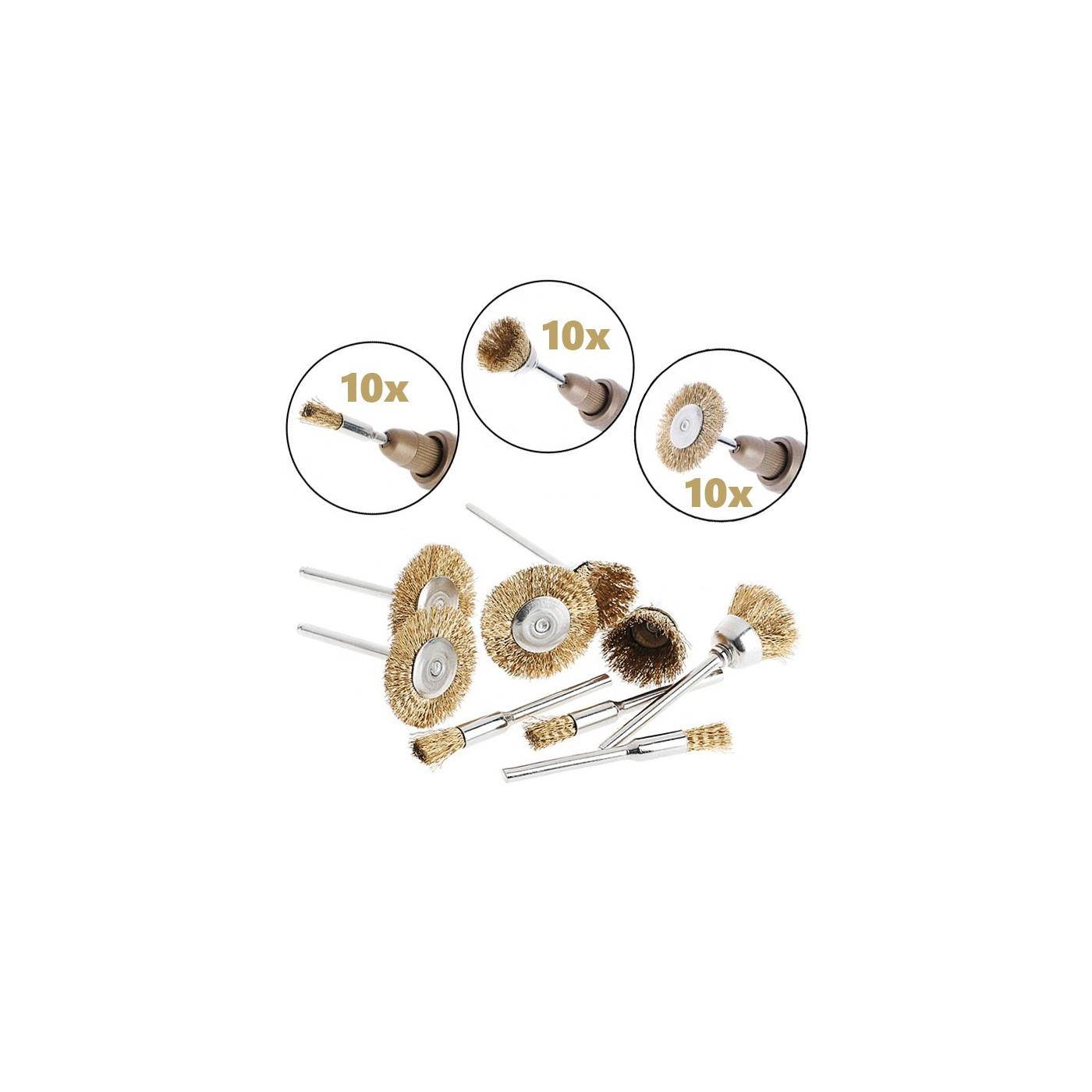 Zestaw 30 szczotek z drutu mosiężnego, 3 kształty (trzon 3 mm)