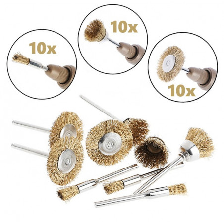 Set of 30 brass wire brushes, 3 shapes (3 mm shank)  - 1