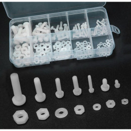Set of 300 nylon bolts, nuts and washers (white) in box