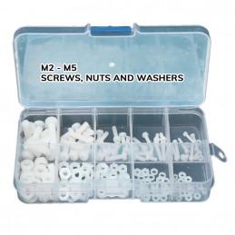 Set 300 Kunststoffschrauben, Muttern und scheiben (weiss und schwarz)  - 2