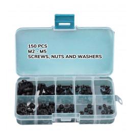 Zestaw 300 nylonowych śrub, nakrętek i podkładek (biały i czarny)  - 3