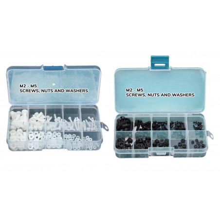 Set van 300 kunststof bouten, moeren en ringen (zwart & wit)