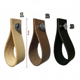 Set von 4 Ledergriffe, Schlaufen, für Möbel, schwarz  - 3