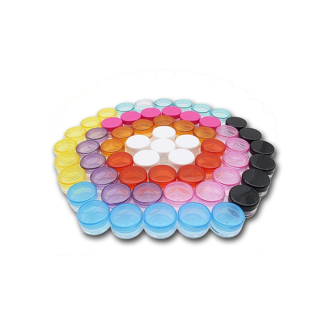Set of 80 plastic jars (5 ml) with colored screw caps